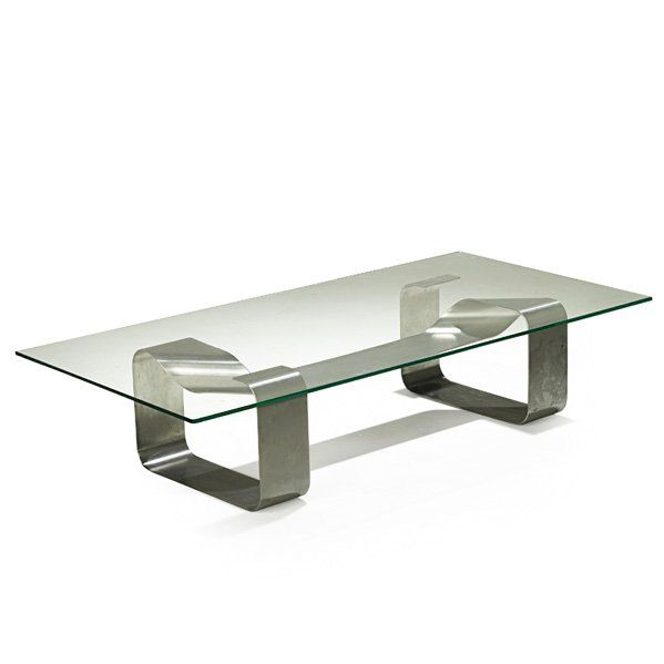 High Quality Paul Legeard; Stainless Steel And Glass U0027Ribbonu0027 Coffee Table, ...