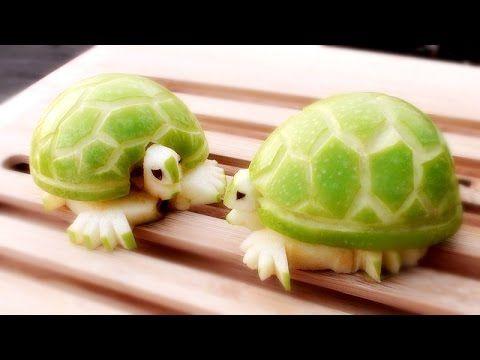 How To Make Apple Turtles - Fruit Carving Garnish - Sushi Garnish - Food Art Decoration - YouTube