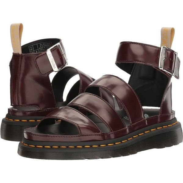 Dr. Martens V Clarissa II (Cherry Red Cambridge Brush) Women's Sandals ($100) ❤ liked on Polyvore featuring shoes, sandals, tan, dr martens footwear, tan sandals, dr martens sandals, breathable shoes and low heel shoes