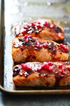 The easiest 4-Ingredient Pomegranate Glazed Salmon you will ever make. It only requires 4-ingredient and the glaze has no added sugar!