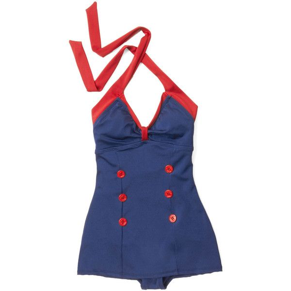 Nautical Free to Sea One-Piece Swimsuit by Esther Williams from... ($95) ❤ liked on Polyvore featuring swimwear, one-piece swimsuits, swimsuit, slimming bathing suits, retro halter swimsuit, 1 piece swimsuit, retro one piece swimsuits and retro bathing suits