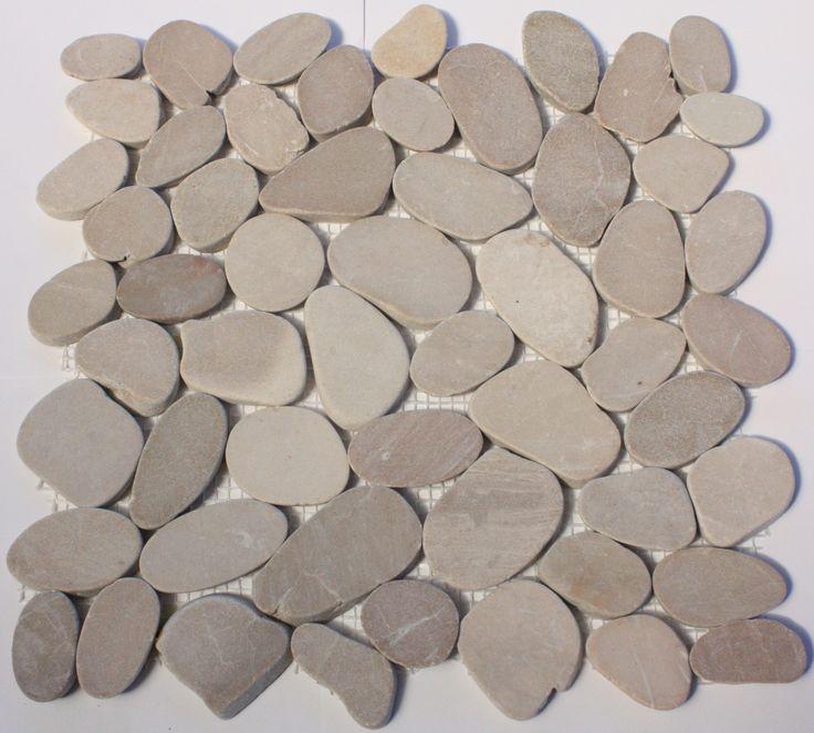 Sliced Beige Pebble Mosaic tile