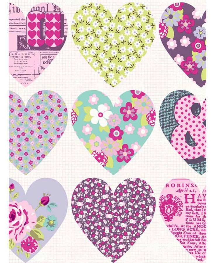 Patchwork Heart Wallpaper - Purple - Arthouse 668501