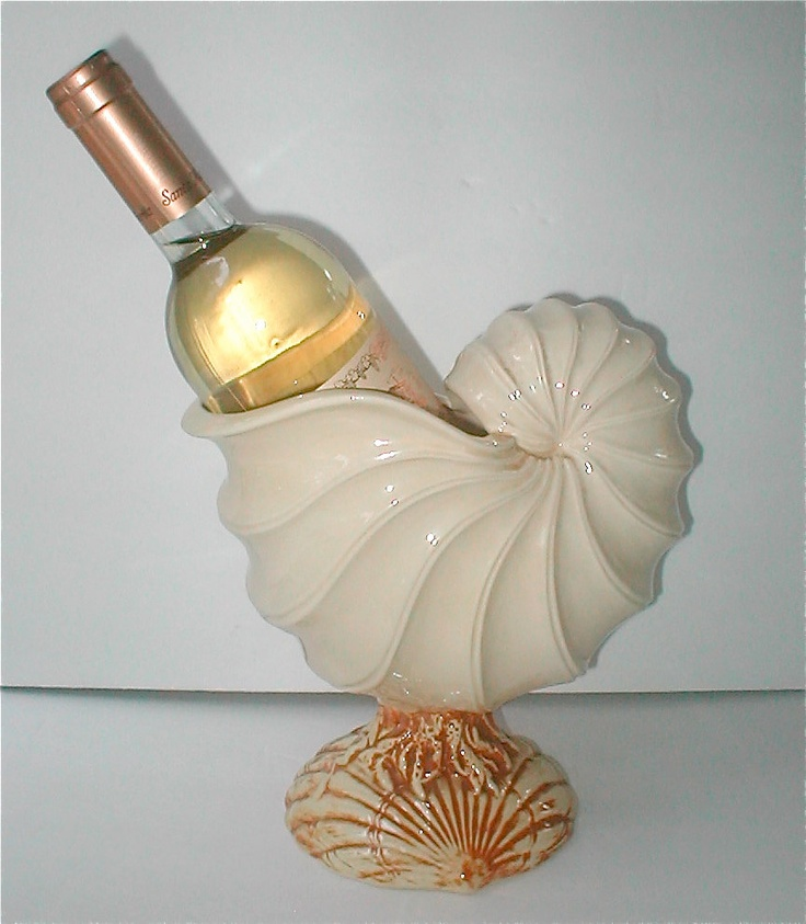 Ceramic Conch Shell Wine Cooler - Vintage 1985 - Nautilus Barware.