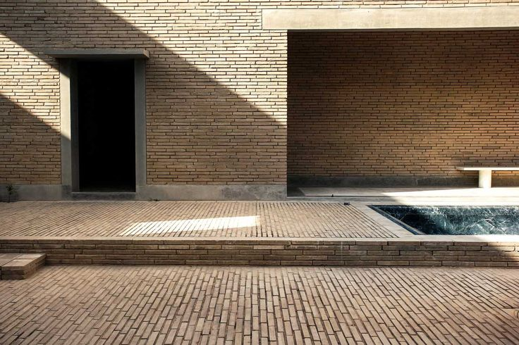 Ahmedabad House Brick Courtyard With Marble Lined Pool