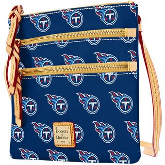 Women's Tennessee Titans Dooney & Bourke Navy Triple Zip Crossbody Purse