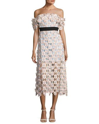 Off-Shoulder+3-D+Floral+Midi+Dress,+Pink+by+Self-Portrait+at+Neiman+Marcus.