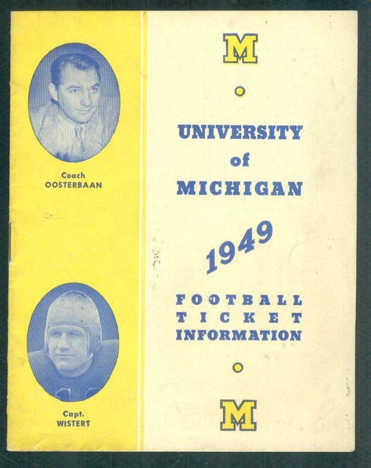 1949 Michigan Football Ticket Info Schedule Guide NOT 2014 Program #Programs
