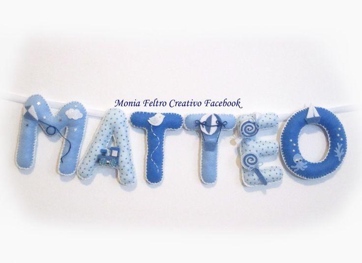Fiocco nascita azzurro per bambino, nome di stoffa da appendere