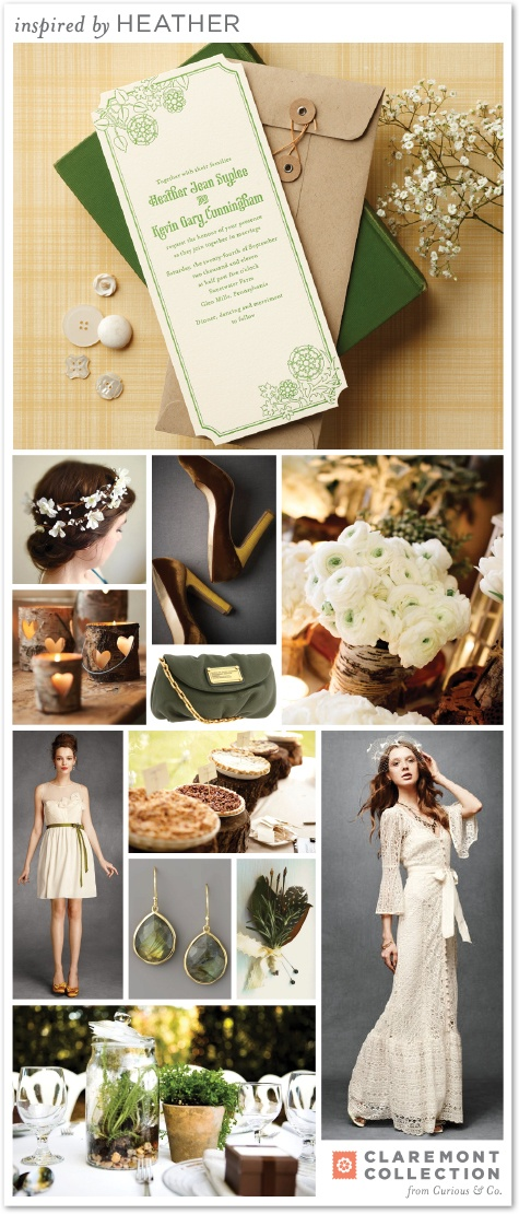 pretty inspiration board by claremont collection heather. (maybe ivory with green lettering and then the lace)
