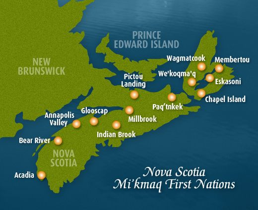 Map of Mi'Kmaq First Nations in Nova Scotia | Government of Nova Scotia