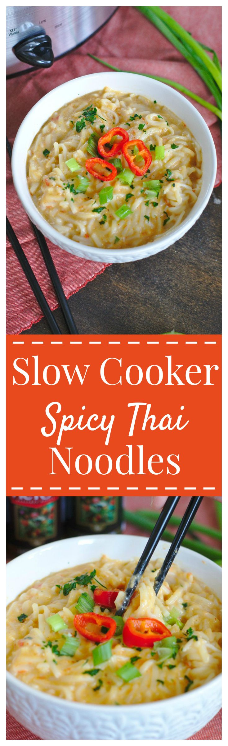 Slow Cooker Spicy Thai Noodles – A simple to make meal that packs a punch! Rice noodles slow cooked in a spicy coconut Thai sauce! #ad #TinyPepperHugeTaste #DonVictorFoods #slowcooker #thai #noodles #spicy @donvictor