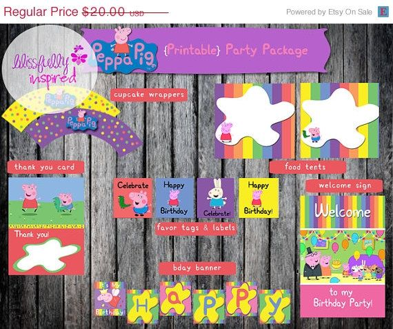 ON SALE Peppa Pig {Inspired} Party Package / Peppa Pig Party in a Box / Peppa Pig Party Printables / Peppa Pig Party Kit on Etsy, $15.00