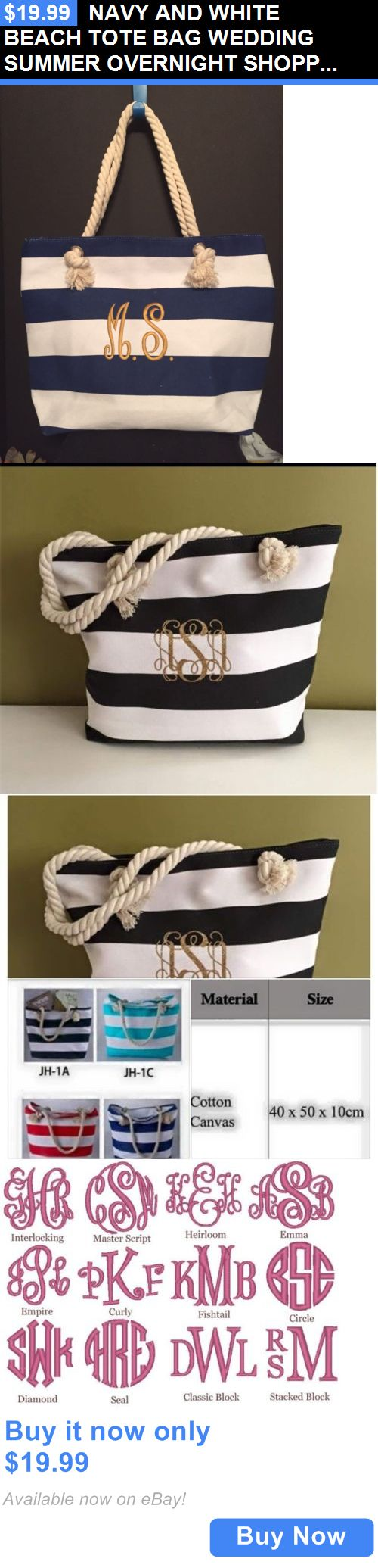 Bridal Handbags And Bags: Navy And White Beach Tote Bag Wedding Summer Overnight Shopping BUY IT NOW ONLY: $19.99