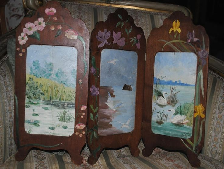 Antique French DOLL SCREEN or Photo frame Hand painted di villavillacolle su Etsy