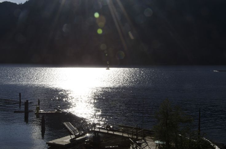 A tug pulling a log boom on Powell Lake, British Columbia
