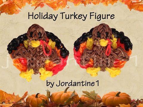 ▶ New 3D Holiday Turkey Figure /Charm - Rainbow Loom - Thanksgiving Fall - YouTube