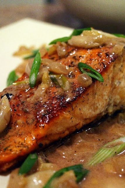 Spicy Salmon with Caramelized Onions...this combination is very good!