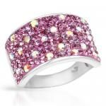 Ring With Genuine Pink Enamel