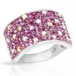 Ring With Genuine Pink Enamel