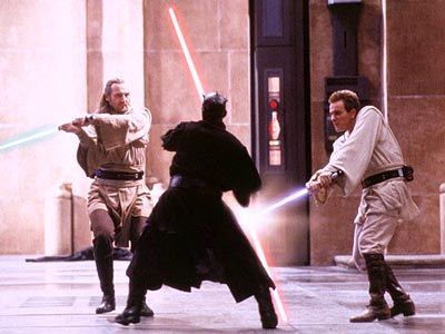 Lightsaber fight: Qui Gon Jinn, Obi Wan Kenobi, and Darth Maul.