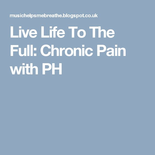 Live Life To The Full: Chronic Pain with PH