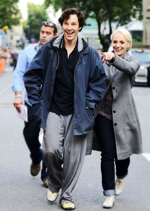 Greeting fans I do believe! - Oh Benedict...he looks like a kid in a candy store here. XD