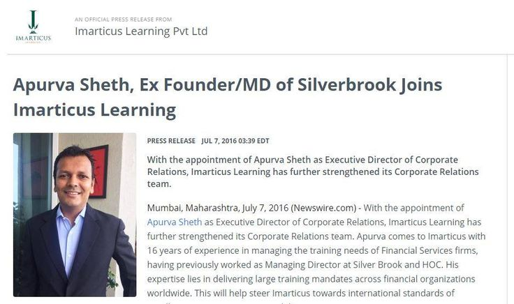 We welcome Mr Apurva Sheth to the #Imarticus Learning #Leadership family!  https://www.newswire.com/news/apurva-sheth-ex-founder-md-of-silverbrook-joins-imarticus-2821643-12721596