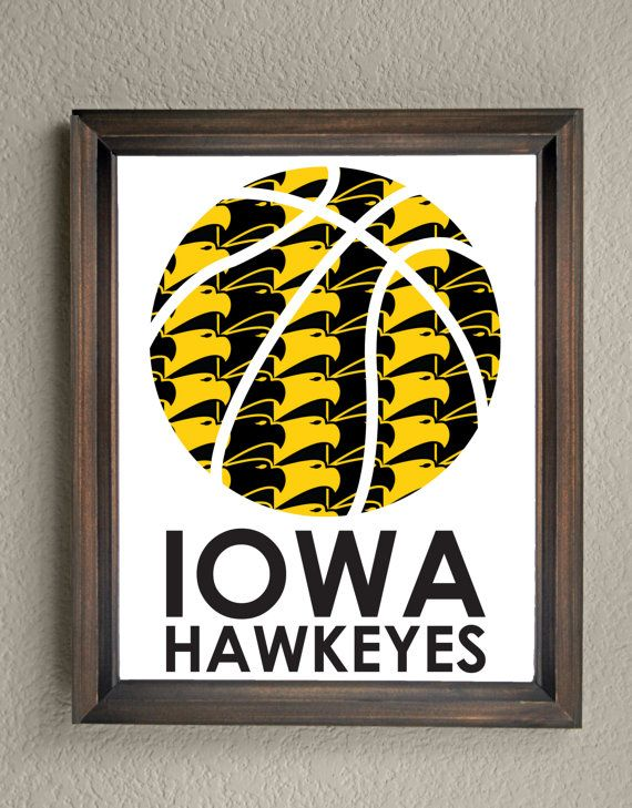 This colorful University of Iowa Hawkeyes Basketball print is an original pattern, designed with the University of Iowa Hawkeyes colors and symbols in mind. This print come in a variety of sizes (please see drop down menu on the right).  This print can come with or without the words, Iowa Hawkeyes (please see drop down menu on the right).  This unique University of Iowa Hawkeyes Basketball print looks great by itself, or on a gallery wall with other prints. It would be a perfect gift for…