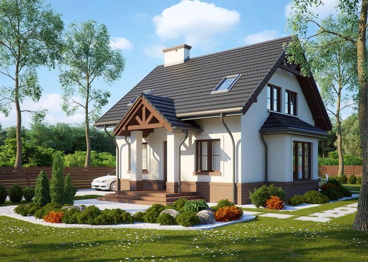 LK&573 to #projekt niedużego domu jednorodzinnego, o tradycyjnej bryle. Jest to #dom parterowy z poddaszem użytkowym, zaplanowany dla trzy-, czteroosobowej rodziny.  Projekt spełnia warunki rządowego projektu dopłat #Mieszkanie dla Młodych. #mdm #LKProjekt
