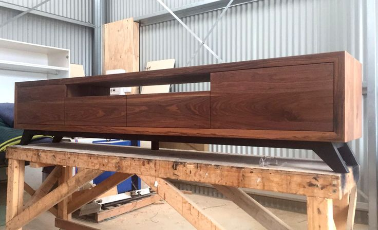 Customised Zeally Bay TV cabinet made from solid Walnut timber. Designed and handmade by Bombora Custom Furniture near Geelong.  #bomboracustomfurniture #timbertvcabinet #furnituregeelong