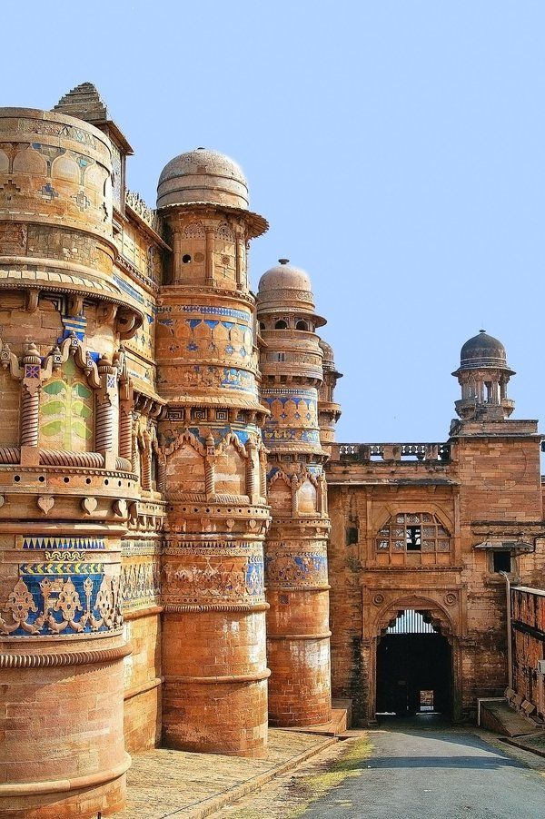 Fort Gwalior, an 8th Century hill fort in Madhya Pradesh, India. A masterful combination of Indian, Muslim and Jain architecture, as the construction was overseen by members of all 3 cultures.