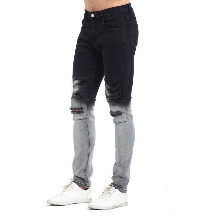 Men Jeans Casual Skinny Jeans Ripped Biker Jeans, Gradient Color