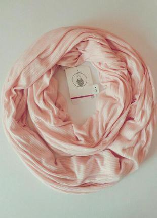 Весенне-летний трикотажный вискозный шарф хомут, снуд нежного бледно розового цвета из германии. (C