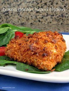 Baked Dorito-Crusted Chicken   alidaskitchen.com