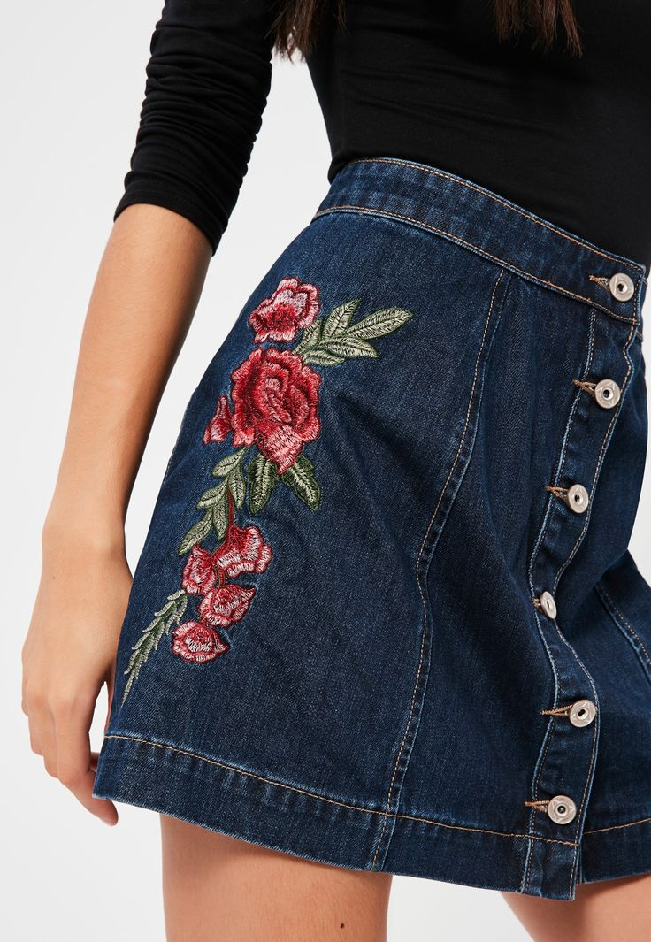 Missguided - Blue A- Line Button Through Floral Embroidered Denim Skirt