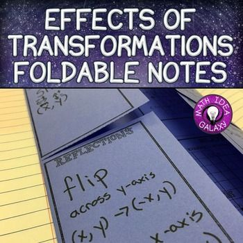 Effects of Transformations Foldable Notes is a simple foldable graphic organizer that has a space for writing characteristics of the effects of transformations, as well as examples of the following transformations: rotations, reflections, dilations, and translations. Supports CCSS 8.G.A.3