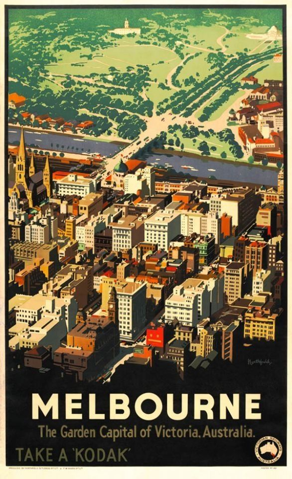 Melbourne Australia vintage travel poster.