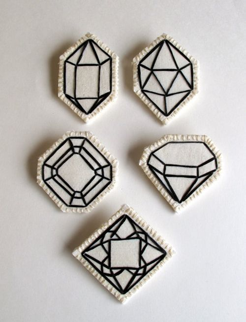 Gemstones Embroidered Brooches // By An Astrid Endeavor