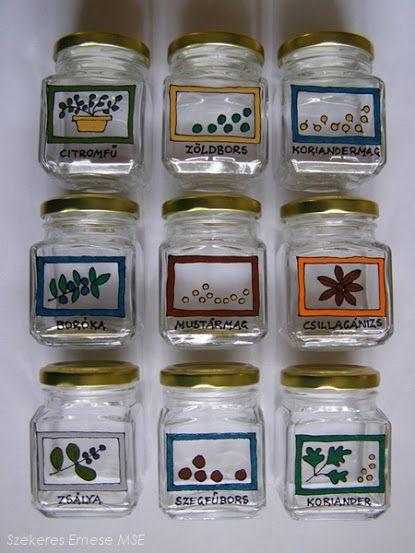 Újrahasznosított befőttes üvegek: kézzel festett fűszertartók | Életszépítők
