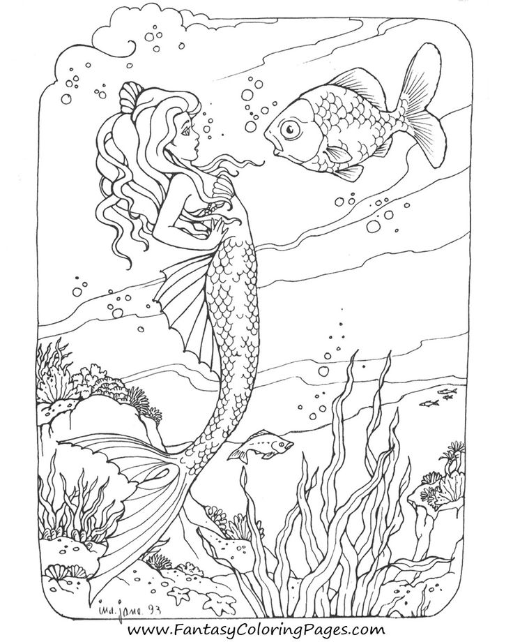 Another Mermaid Coloring Page AdultCP Beachy