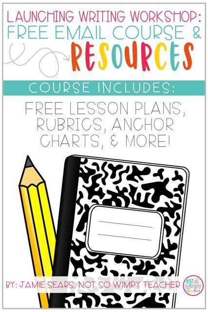 FREE Writing workshop email course! This comes with free writing lesson plans, anchor charts, conference forms and rubrics! This is a great way to improve writing instruction in your classroom!