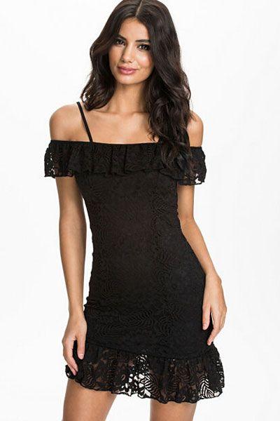 Black Double Frill Lace Mini Dress