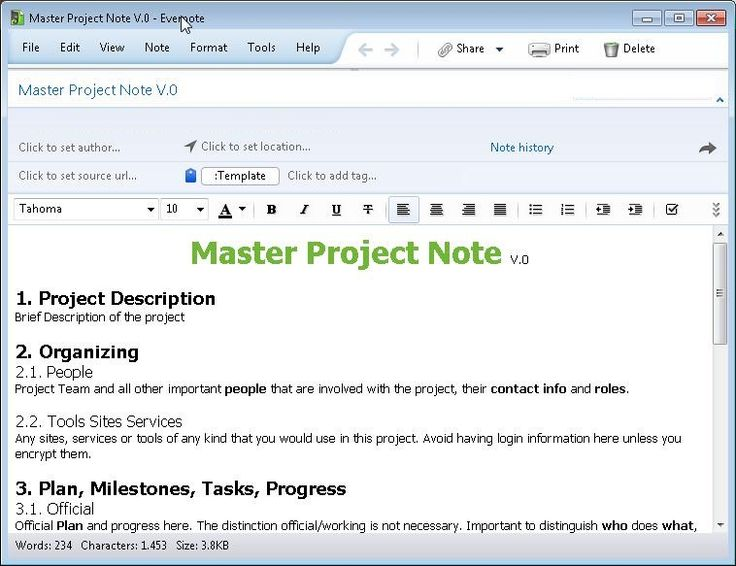 Project Master Note Evernote Pinterest Evernote, Notes - project brief template