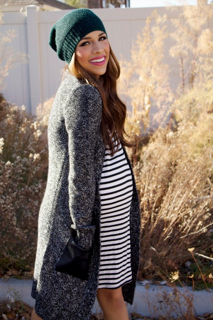 Get this simple casual maternity look for less than $60 at MotherhoodCloset.com #MaternityConsignment $ 15 Maternity Dress $ 26 Maternity Sweater $ 10 Maternity Leggings