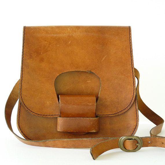 French Brown Real Leather Handbag Vintage by LaBastideBlanche, $65.00
