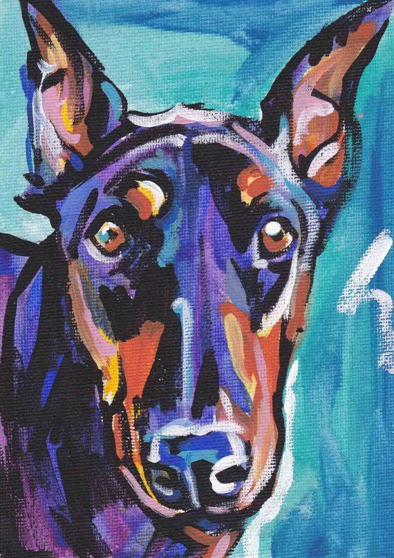Doberman Pinscher art print dog pop art bright by BentNotBroken, $11.99