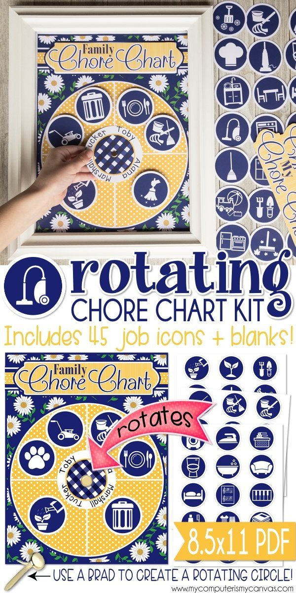 Printable Job Chart C Family System Rotating Jobs Organization Interchangeable Mycomputerismycanvas