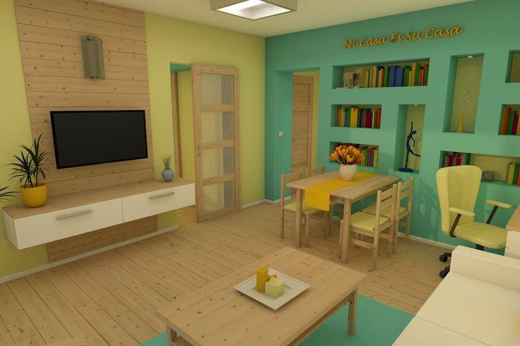 nappali tolóajtóval és gipszkarton polcrendszerrel (living room with sliding door and plasterboard shelves)