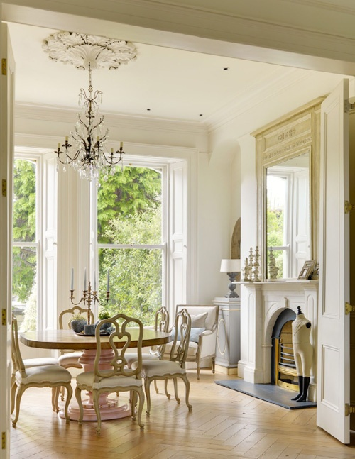 Minnie Peters- french dining table, Belgian chairs, french antique  mirror, bleached herringbone wooden floors.... www.minniepeters.com
